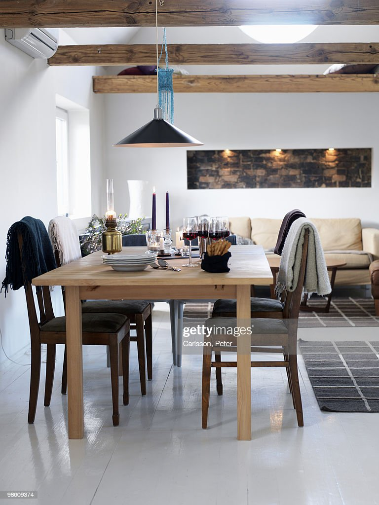 A dining table ready laid, Sweden. : Stock Photo