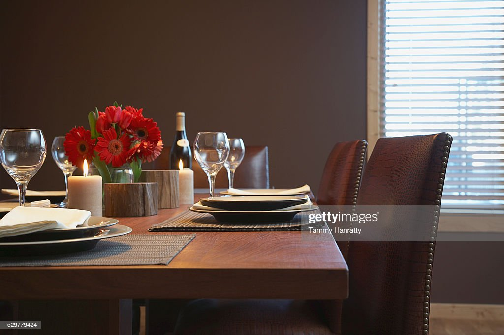 Dining table set for dinner : ストックフォト