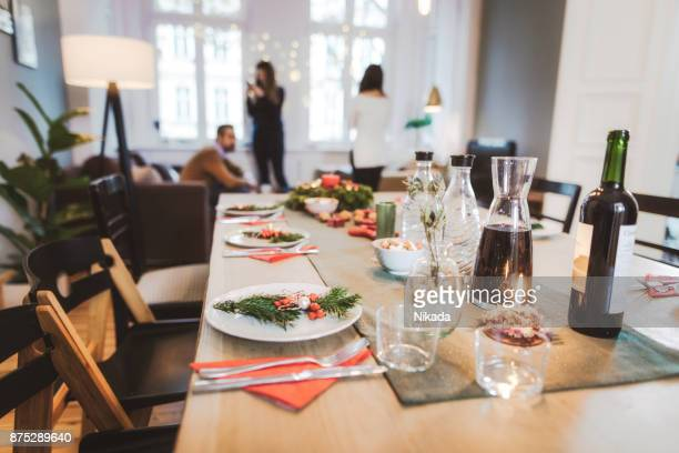 dining table with Christmas decoration