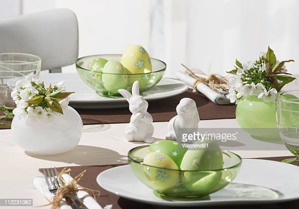 Dining table with easter breakfast setting