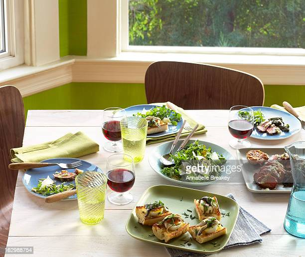 Dining Table with Healthy Dinner Spread
