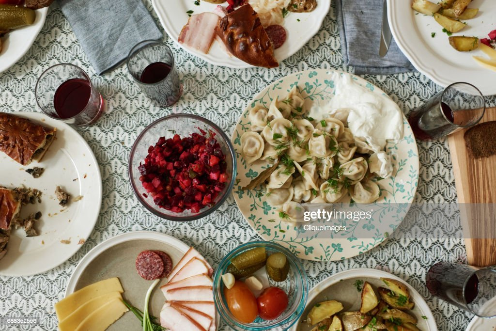 Dining table with Russian dishes : Stock Photo