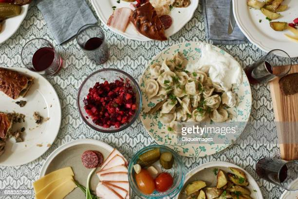 dining table with russian dishes - russian culture stock pictures, royalty-free photos & images