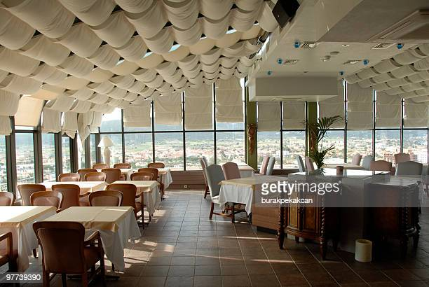 Dining tables and chairs in restaurant, Turkey