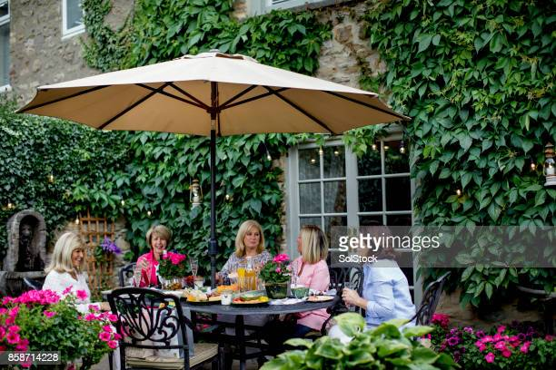 dining under the garden parasol with friends - parasol stock pictures, royalty-free photos & images