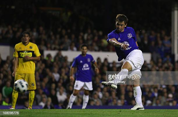 Diniyar Bilyaletdinov of Everton scores the second goal during the pre-season friendly match between Everton and Everton Chile at Goodison Park on...
