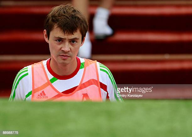 Diniyar Bilyaletdinov of FC Lokomotiv Moscow looks on during the Russian Football League Championship match between FC Lokomotiv Moscow and FC Tom...