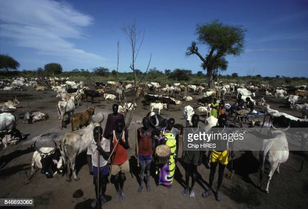 Dinka people of Southern Sudan during construction of the Jonglei canal on February 24 1983 in Sudan