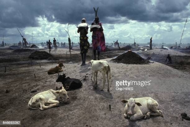 Dinka people of Southern Sudan during construction of the Jonglei canal on February 24, 1983 in Sudan.
