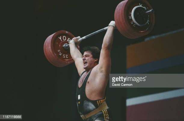 """Dinko """"Dean"""" Lukin of Australia winning the Men's 110kg Super heavyweight Weightlifting competition at the the XXIII Olympic Games on 8th August 1984..."""
