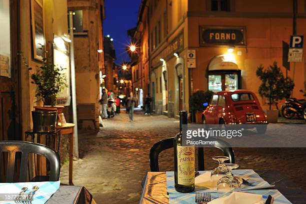 dinner al fresco  in rome - roma stock photos and pictures