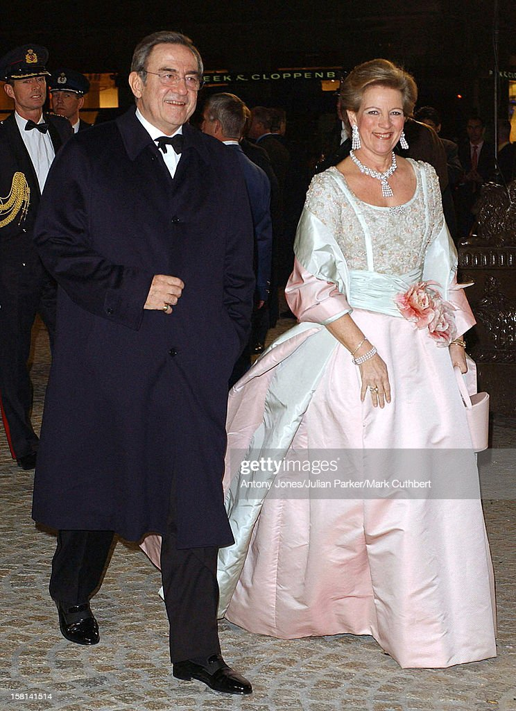 Dinner And Party At The Royal Palace, Amsterdam For The Forthcoming Wedding Of Crown Prince Willem-Alexander & Maxima Zorreguieta. King Constantine & Anne-Marie Of Greece .