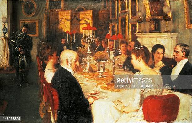 Dinner at Haddo House by Alfred Edward Emslie oil on canvas 362x578 cm London National Portrait Gallery