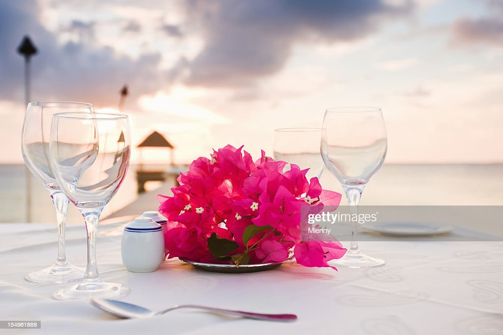 Dinner at the Beach Polynesia Sunset Luxury Holiday Resort : Stock Photo