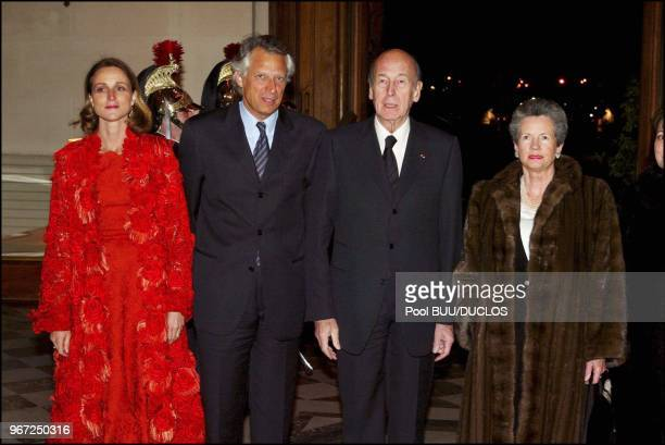 Dinner at the Foreign Ministry for Chinese President Hu Jintao Left to right MarieLaure and Dominique de Villepin Valery and AnneAymone Giscard...