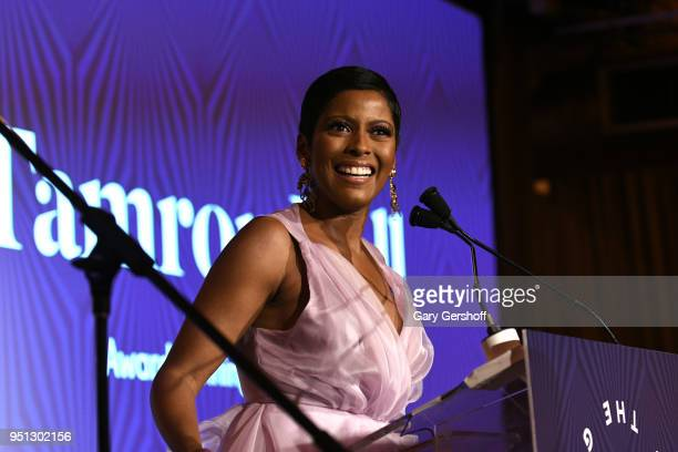 Dinner Committee member Tamron Hall speaks on stage during the Housing Works' Groundbreaker Awards at Metropolitan Pavilion on April 25 2018 in New...
