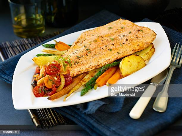 dinner food - trout stock pictures, royalty-free photos & images