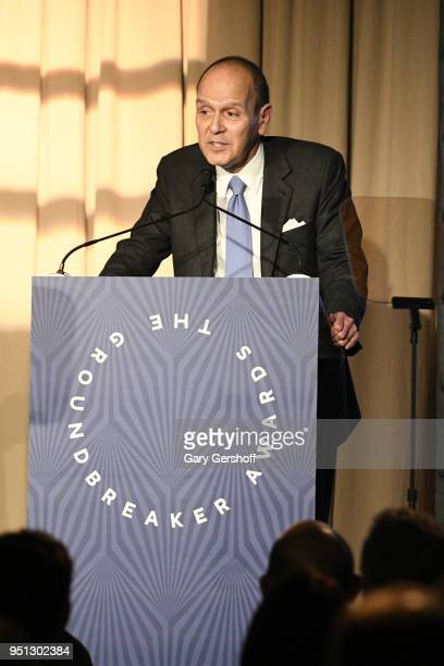 Dinner Honoree the Hearst Design Group's Heart of Design Award recipient President and CEO Hermes USA Robert Chavez speaks on stag during the Housing...