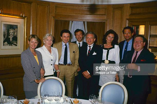 Dinner hosted by Paul Wermus with Marie France Cubadda Line Renaud Michel Driucker Paul Wermus Jacques Martin Cecilia Martin JeanPaul Baudecroux...