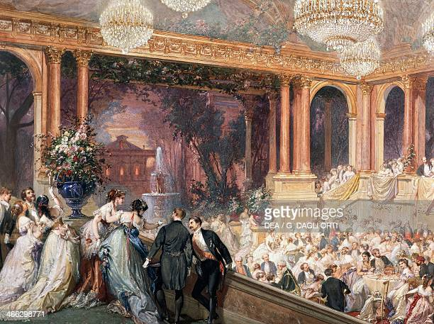 Dinner in the dining room of the theatre of the Tuileries for the Universal Exhibition of 1867 in Paris. France, 19th century.