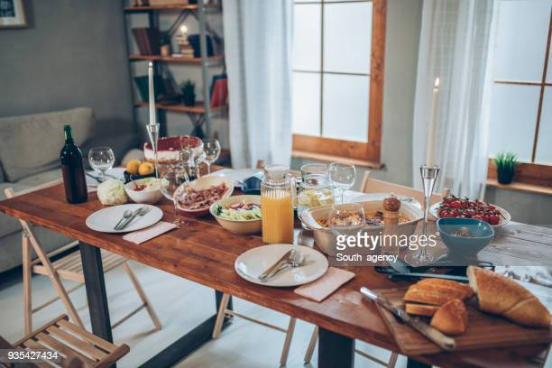 dinner is ready - dinner table stock photos and pictures