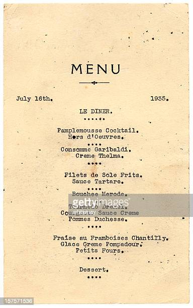 dinner menu from 1935 - menu stock pictures, royalty-free photos & images