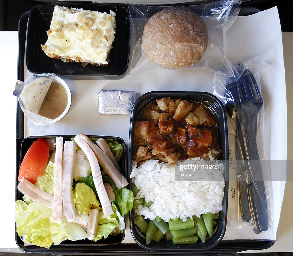 Dinner on an airplane : Stock Photo