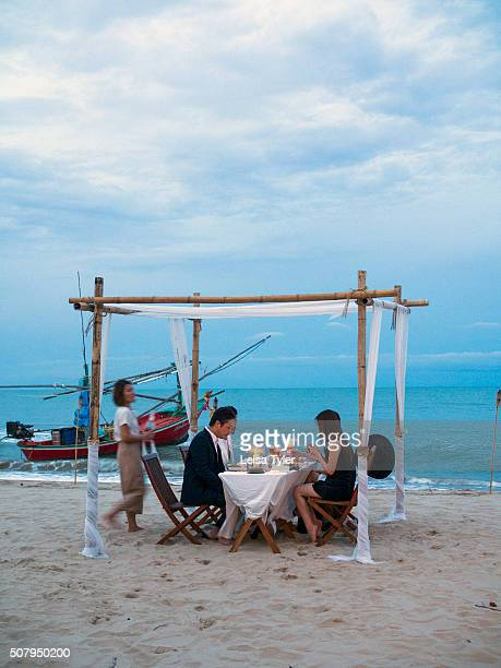 Dinner on the beach at the Aleenta Hua Hin Resort Spa in Pranburi Thailand