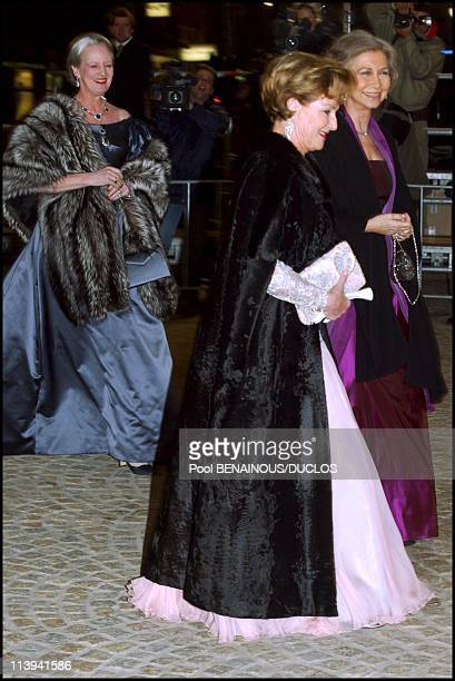 Dinner party and ball to celebrate Queen Beatrix of the Netherland's birthday In Amsterdam Netherlands On January 31 2002Queen Margrethe II of...