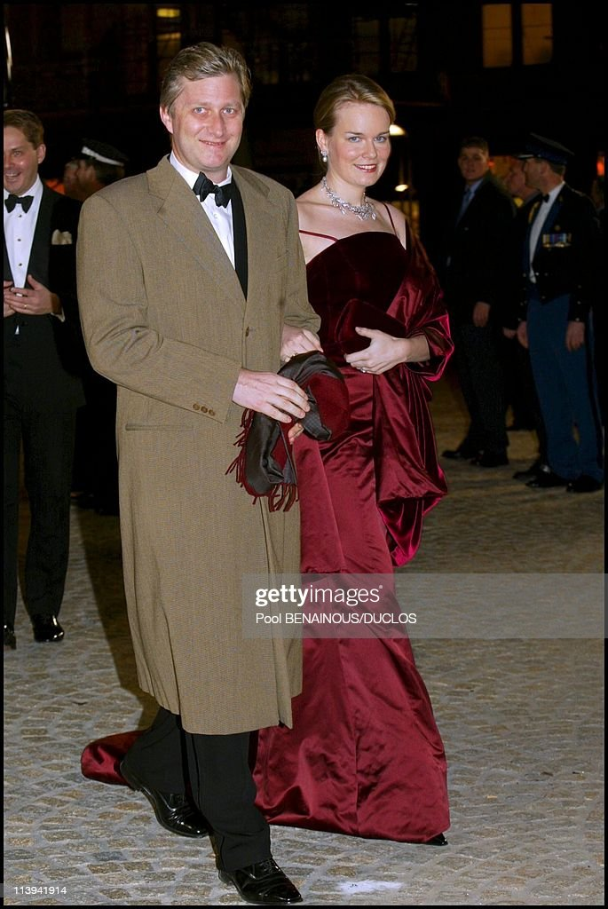 Dinner party and ball to celebrate Queen Beatrix of the Netherland's birthday In Amsterdam, Netherlands On January 31, 2002-Philippe and Mathilde of Belgium.