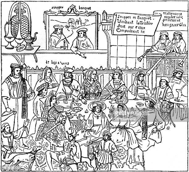 A dinner party late 15th century Noticeable is the variety of the hats of the men and their pourpoints and sleeves Illustration from British Costume...