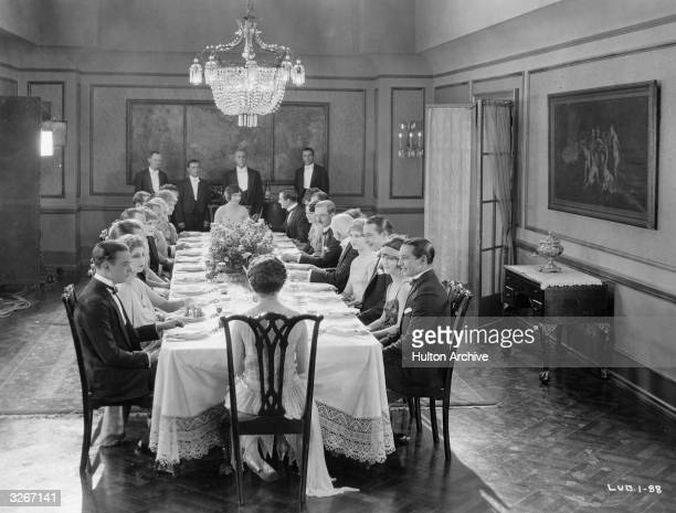 A dinner party scene from 'Marriage Circle' about a bachelor on the loose The film was directed by Ernst Lubitsch for Warner Brothers