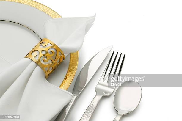 Dinner Plate, Silverware & Napkin