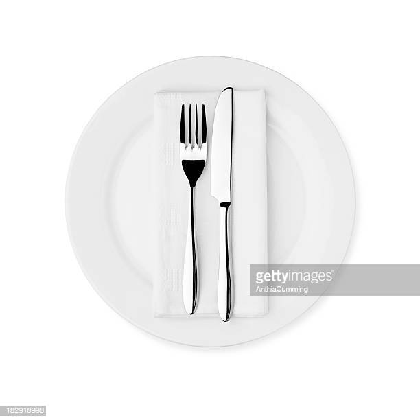 dinner setting - white plate, knife, fork and serviette - silverware stock pictures, royalty-free photos & images