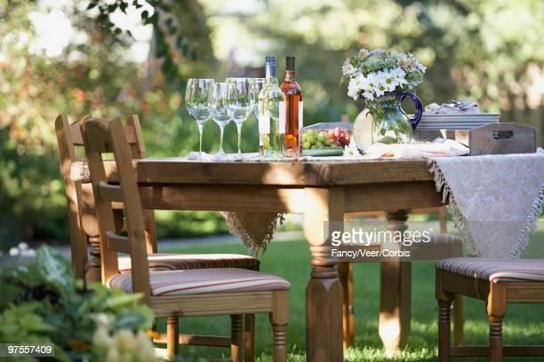 Dinner table in garden