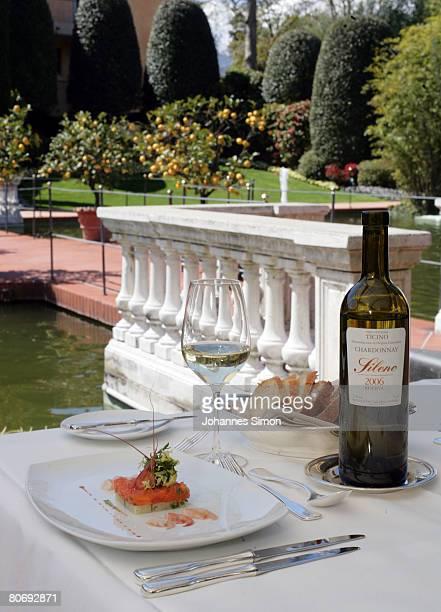 "Dinner table is set outside ""Aprodite"" Restaurant of Hotel Giardino, seen on April 16 in Ascona, Switzerland. The German football national team will..."