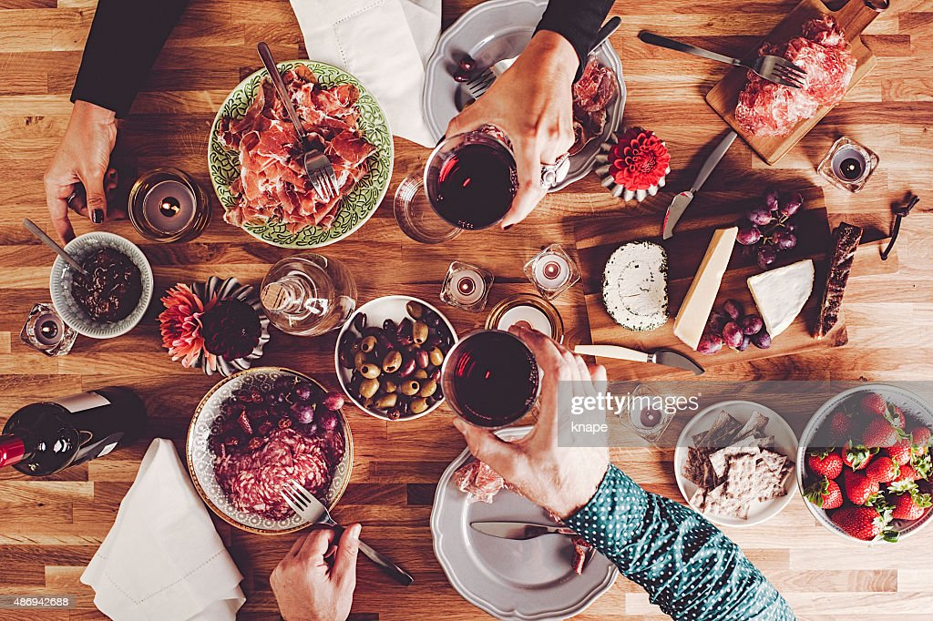 Dinner table overhead top view : Stock Photo
