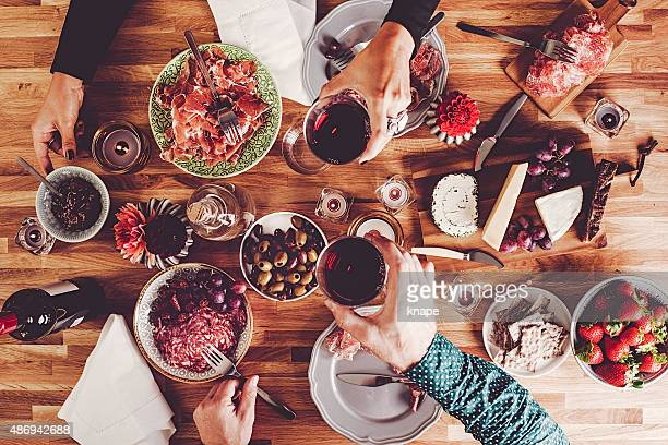 dinner table overhead top view - tapas stock photos and pictures