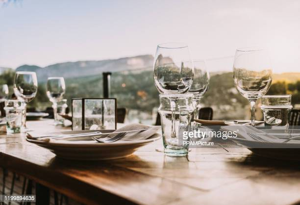 dinner table - mediterranean culture stock pictures, royalty-free photos & images