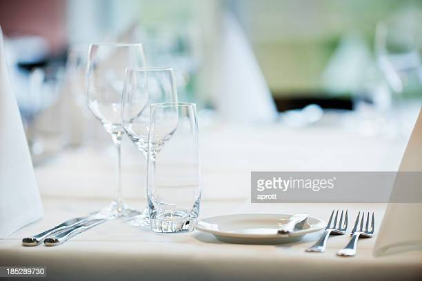 Dinner table setting for fancy meal