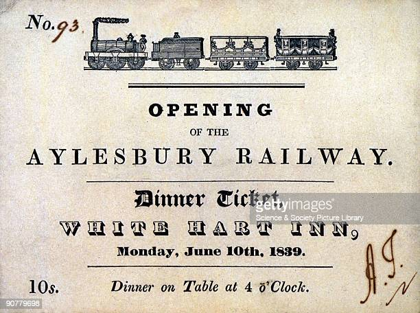 Dinner ticket inviting the bearer to celebrate the opening of the Aylesbury Railway 10 June 1839 at the White Hart Inn