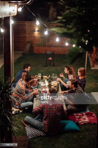 dinner with friends - barbecue social gathering stock pictures, royalty-free photos & images