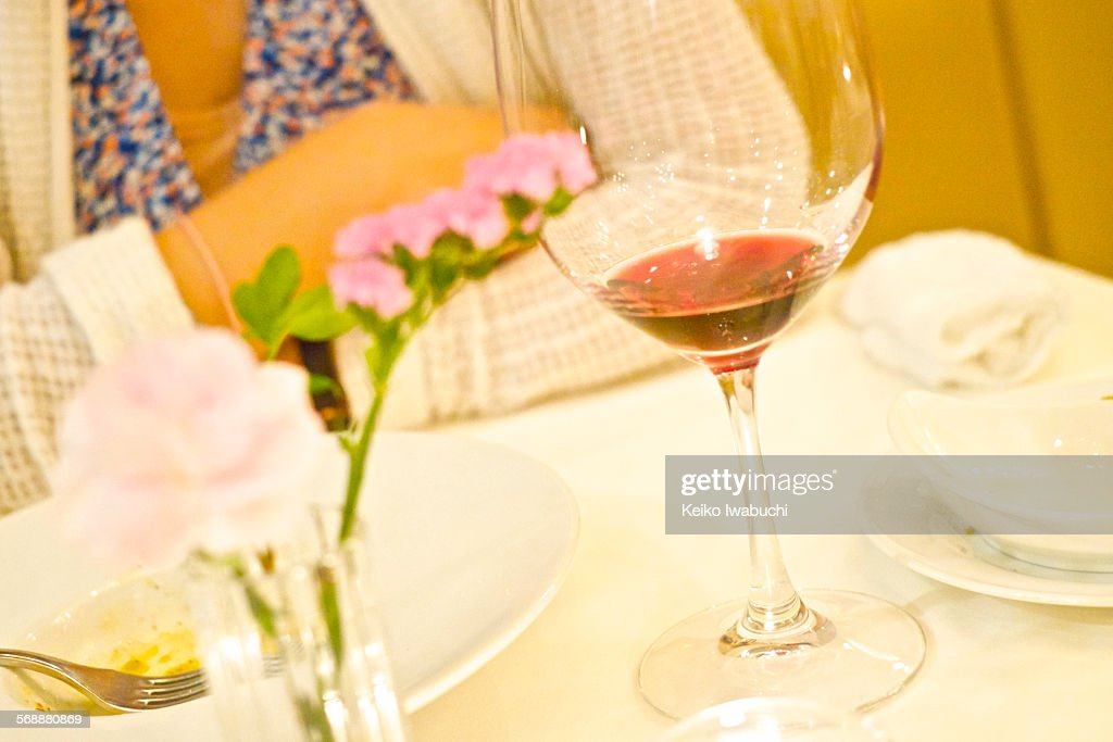 Dinner with red wine : Stock Photo