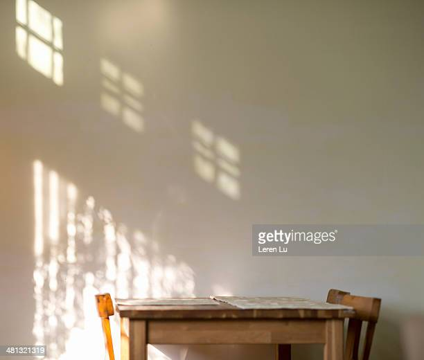 Dinning set and shadow of sunshine on the wall