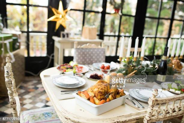 dinning table decoration - thanksgiving table stock photos and pictures