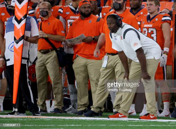 Dino Babers head coach of the Syracuse Orange watches from the sideline during the second half against the Clemson Tigers at Carrier Dome on October...