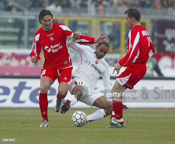 Dino Baggio and and Daniel Andersson of Ancona in action during the Serie A match Between Ancona and Roma at the Del Conero stadium on February 15...