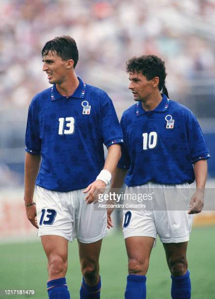 Dino Baggio and Roberto Baggio of Italy during the FIFA World Cup 1994 United States