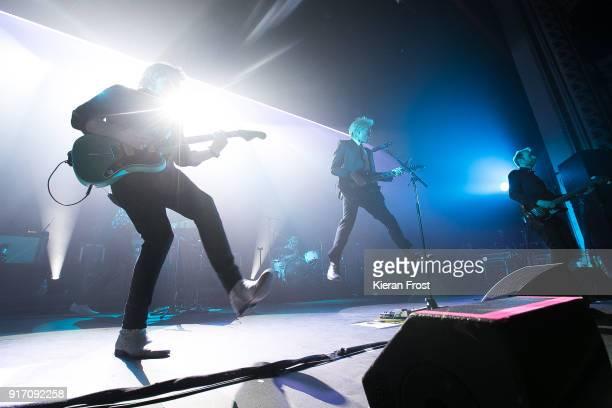 Dino Bardot Alex Kapranos and Bob Hardy of Franz Ferdinand perform live at the Olympia Theatre on February 11 2018 in Dublin Ireland