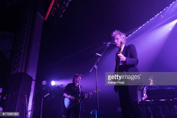 Dino Bardot and Alex Kapranos and Julian Corrie of Franz Ferdinand perform live at the Olympia Theatre on February 11 2018 in Dublin Ireland